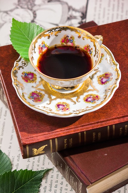 tea cup with books