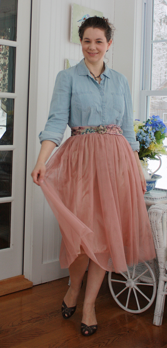 blush tulle skirt with chambray shirt