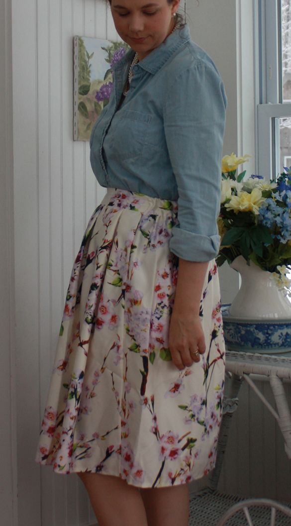 knee length pleated floral skirt with chambray shirt