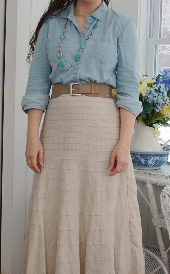linen maxi skirt with chambray shirt