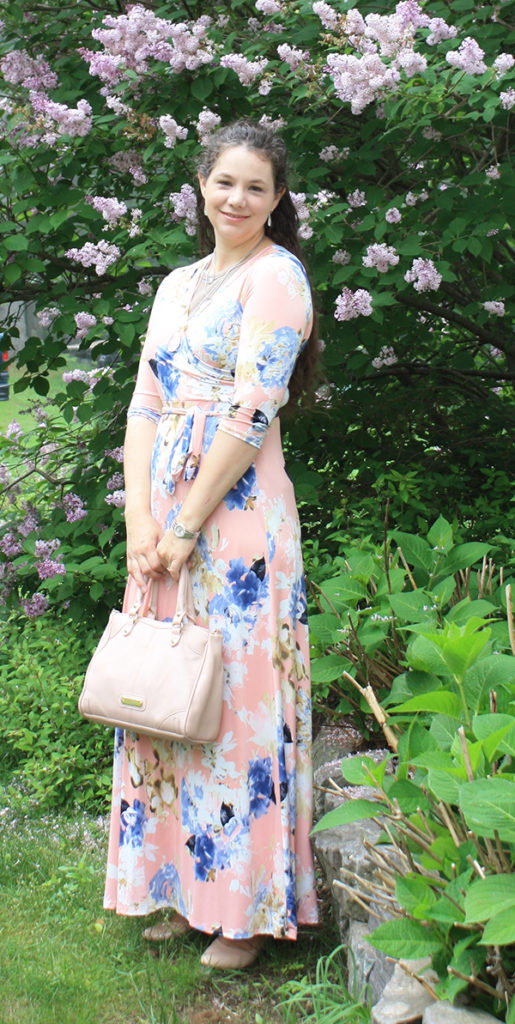 florence adams floral wrap maxi dress